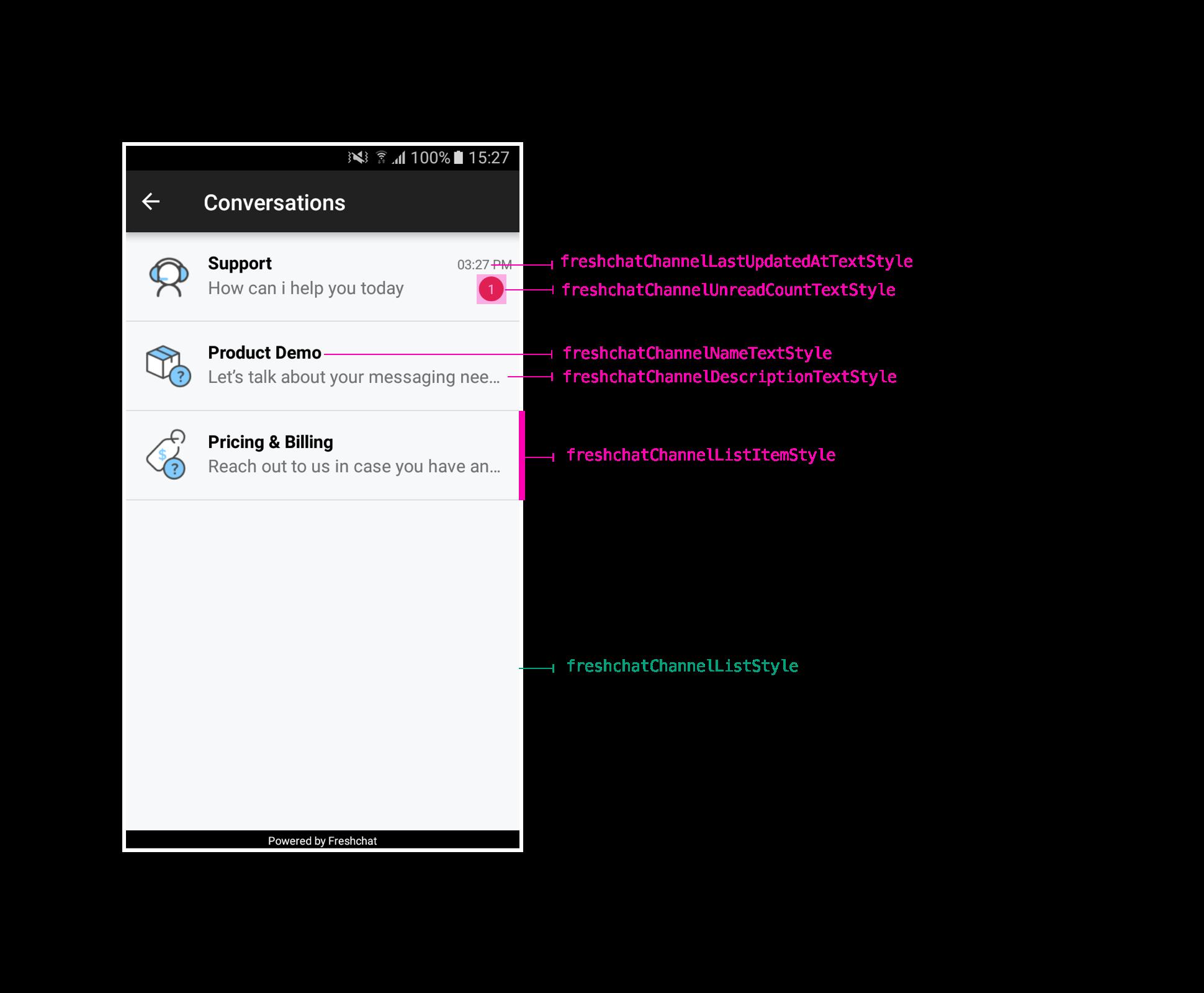 Freshchat - Android SDK Themes and Customizations : Freshchat