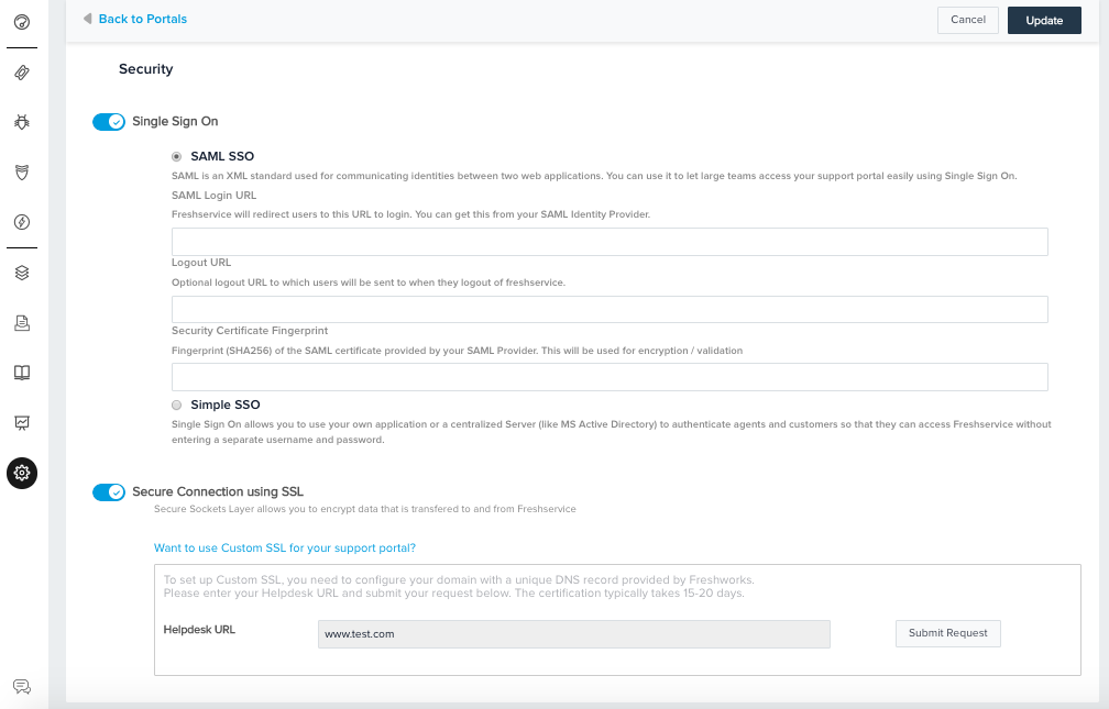 Security settings for multi-portal set up : freshservice