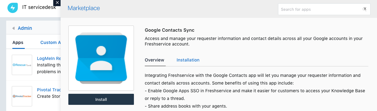 Integrating your Freshservice account with Google Contacts