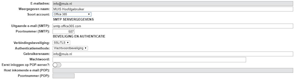 """1dbc1d41a63280 Je selecteert uit de lijst bij Soort account """"Office365"""". Vul vervolgens je  wachtwoord in en klik op de knop """"Test e-mail versturen"""" om de verbinding  te ..."""