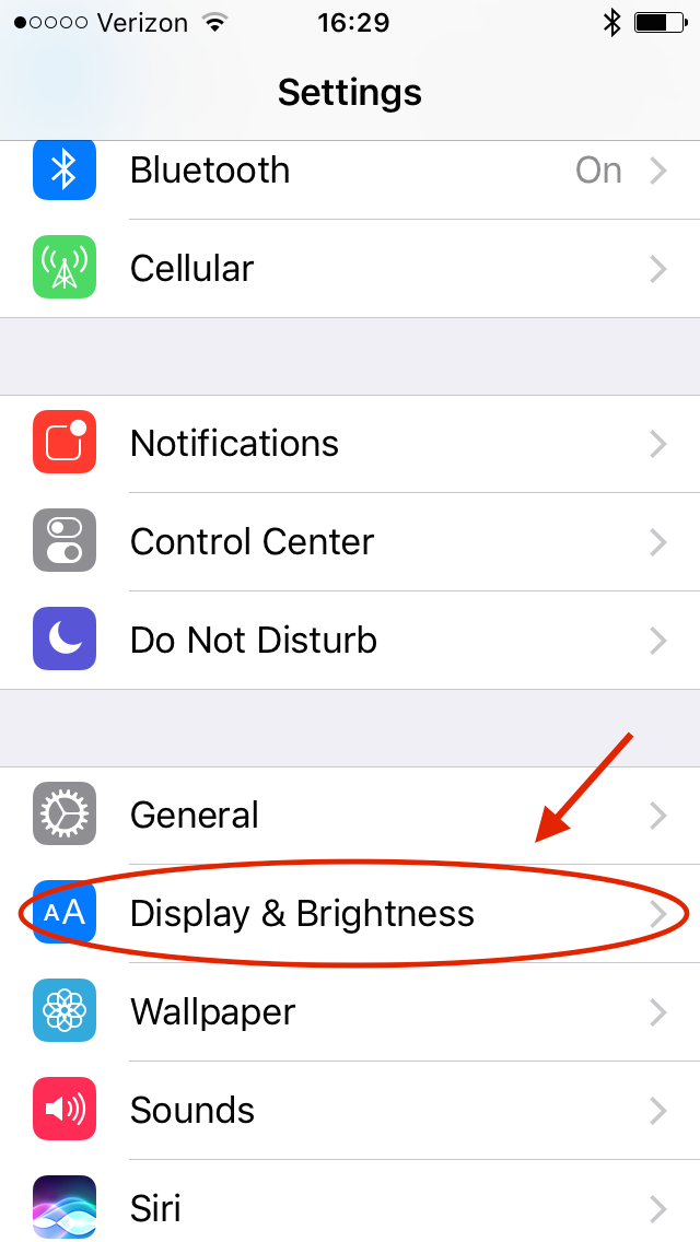 iOS Settings ➝ Display and Brightness