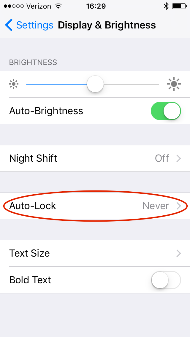 iOS Settings ➝ Display and Brightness ➝ Auto-Lock settings