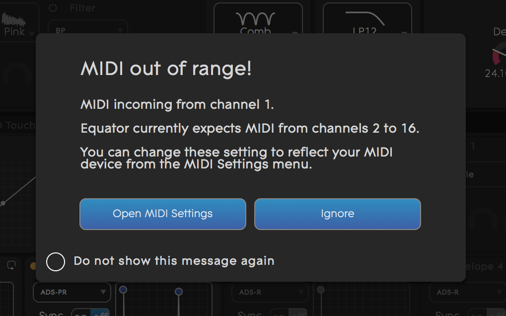 MIDI out of range Equator warning