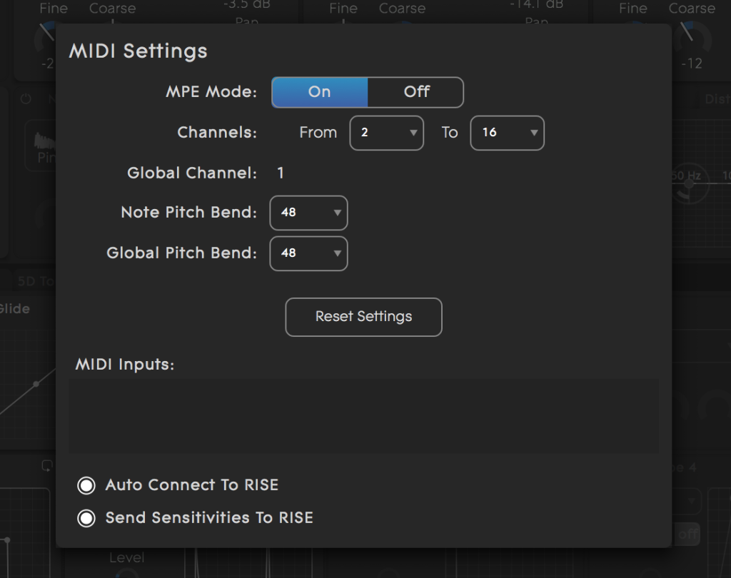 Equator MIDI settings MPE on