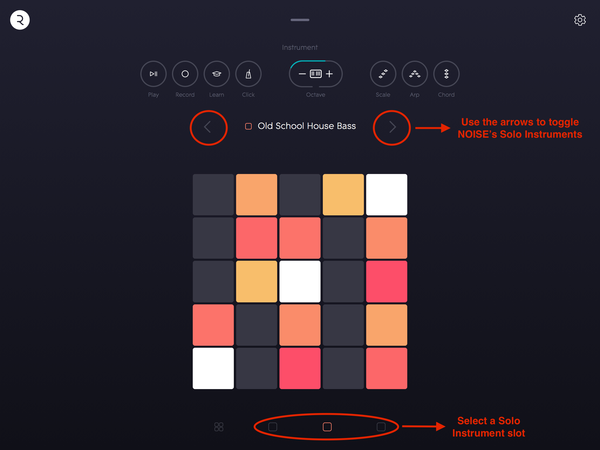 NOISE – Instrument View – navigating Solo Instruments