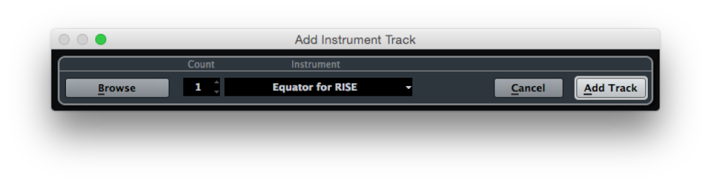 Cubase Add Instrument Track Equator for RISE
