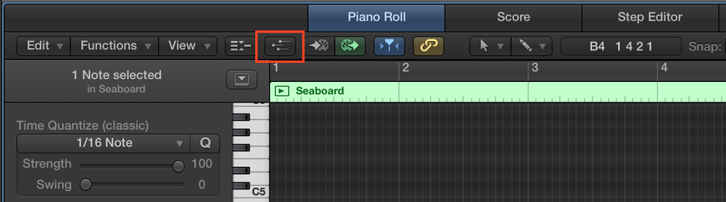 Logic X MIDI Draw button highlighted
