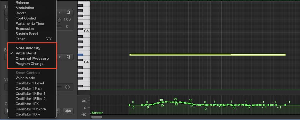 Logic X select controller in MIDI draw