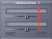 Click the magnifying glass to open Omnisphere's modulation matrix