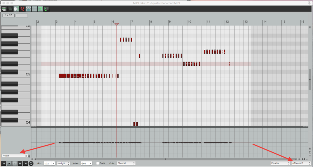 Reaper editing MIDI in piano roll