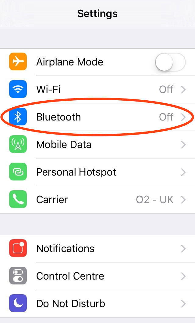 Bluetooth in iPhone settings