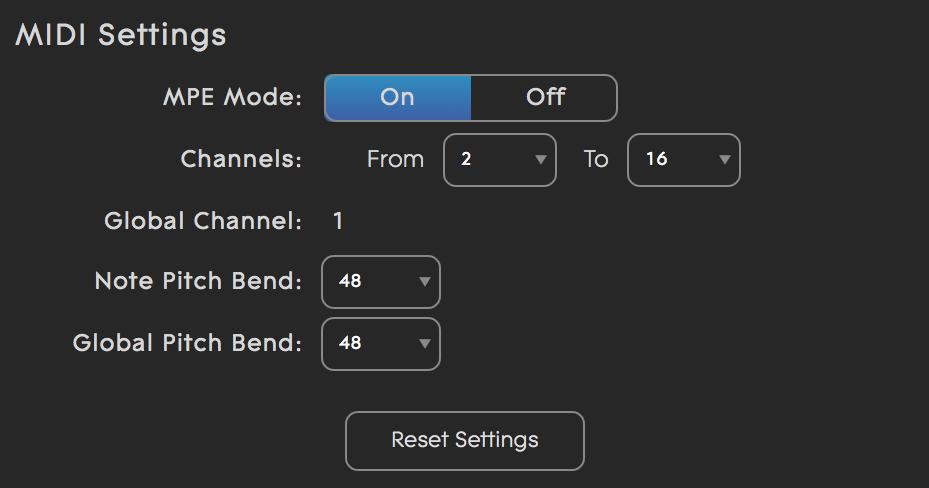 Equator MIDI MPE settings page standard MPE setup