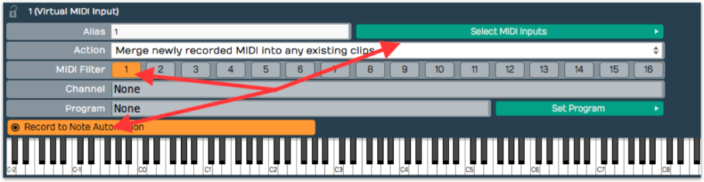 Tracktion Setting up virtual MIDI input