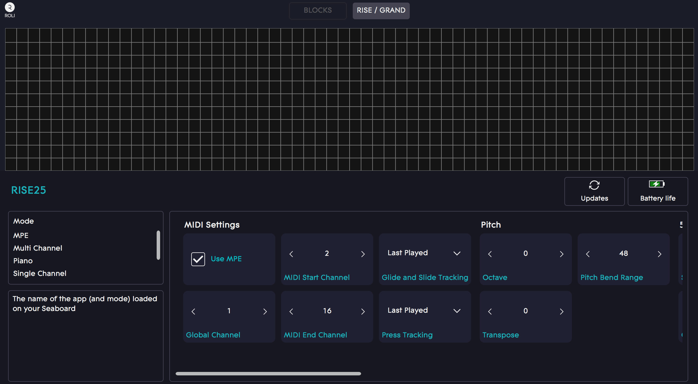 ROLI Dashboard – Falcon Settings