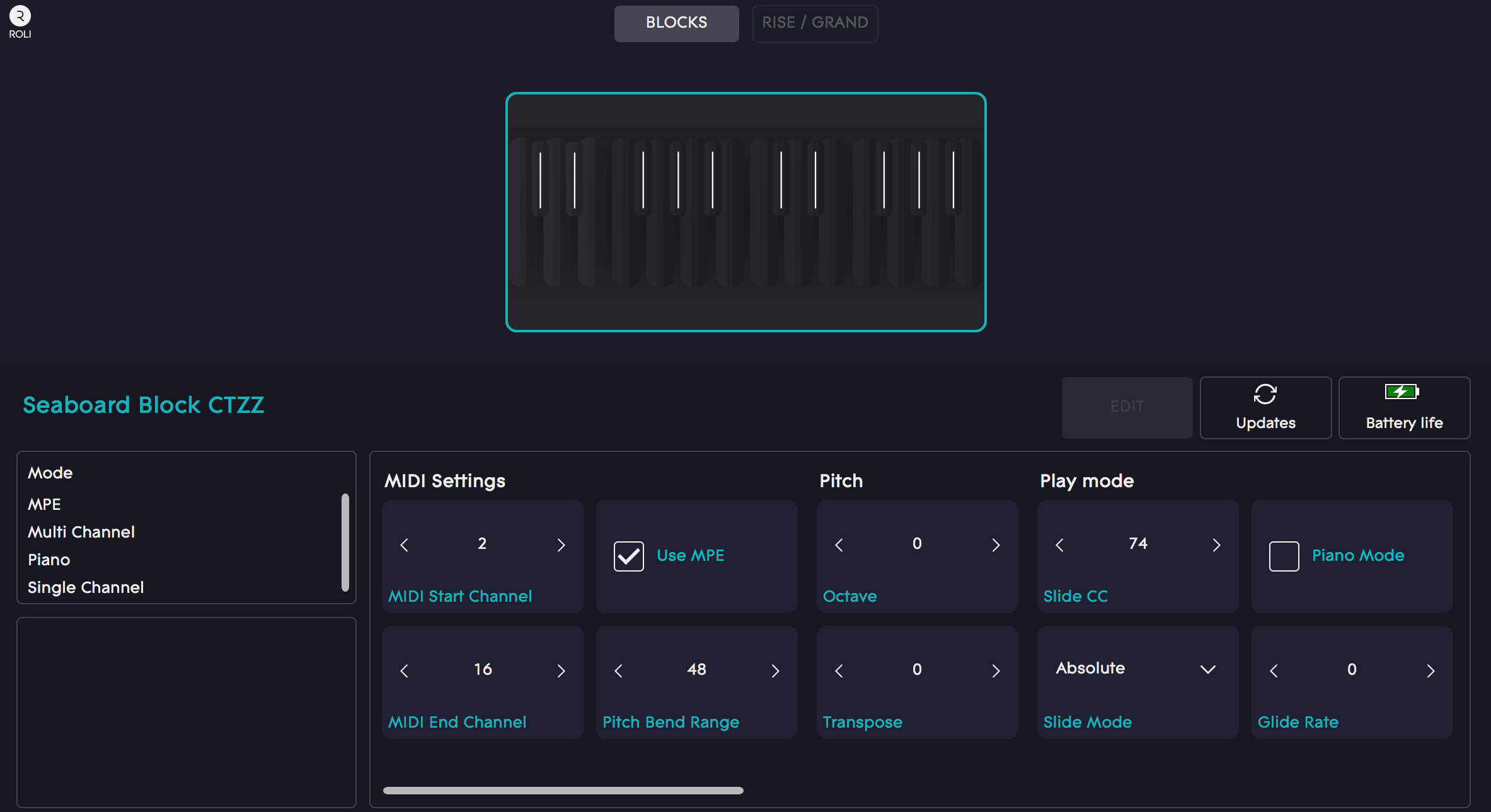 Dashboard CU of MIDI and pitch with standard MPE settings