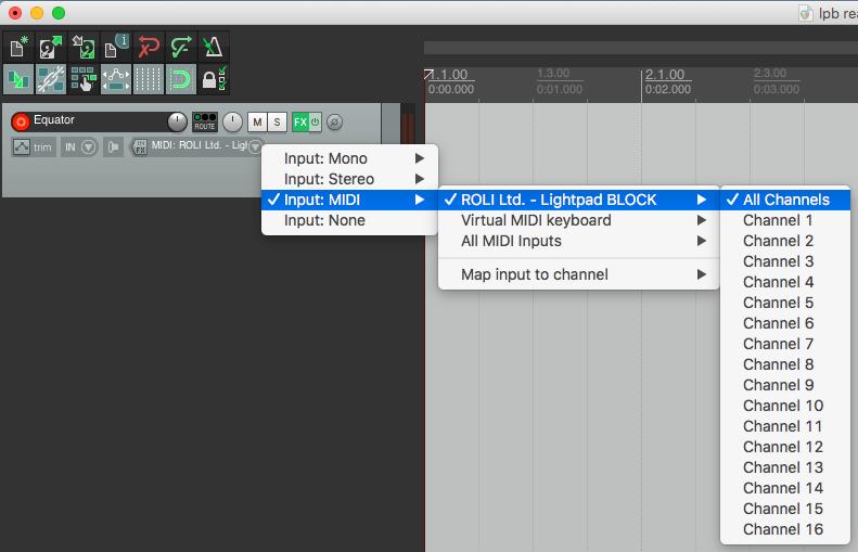 Reaper selecting MIDI inputs Seaboard