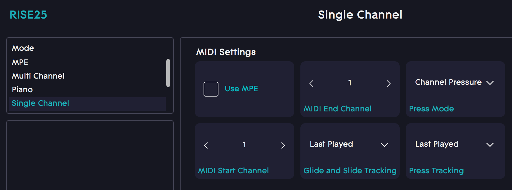 Dashboard single channel mode