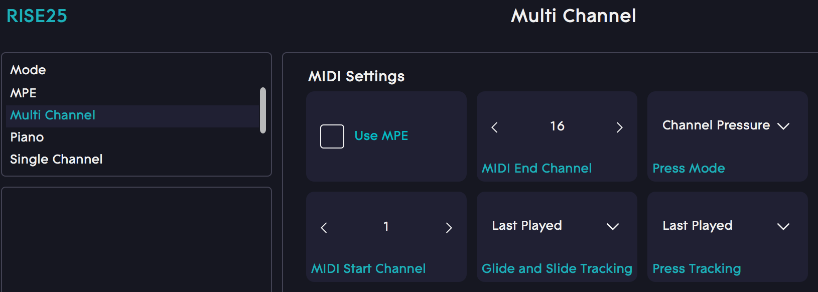 Dashboard Channel range selection