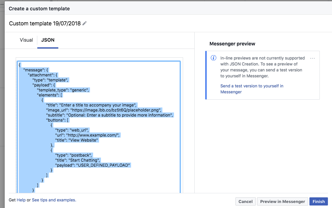 Facebook Ads JSON : ManyChat