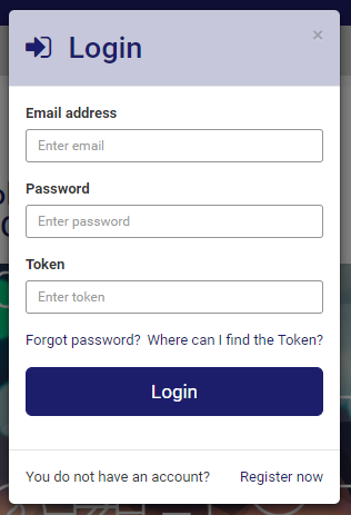 PRISMA Login overlay with field for email address, password and token. Forgot password link is in the center of the form.