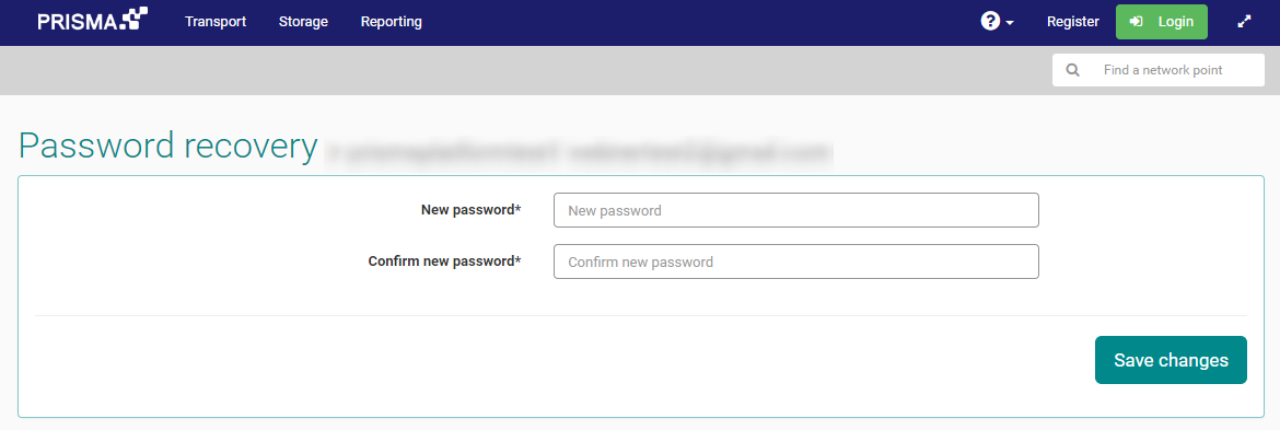 PRISMA password recovery form. Fields for New password, Confrim new password and button to Save changes.
