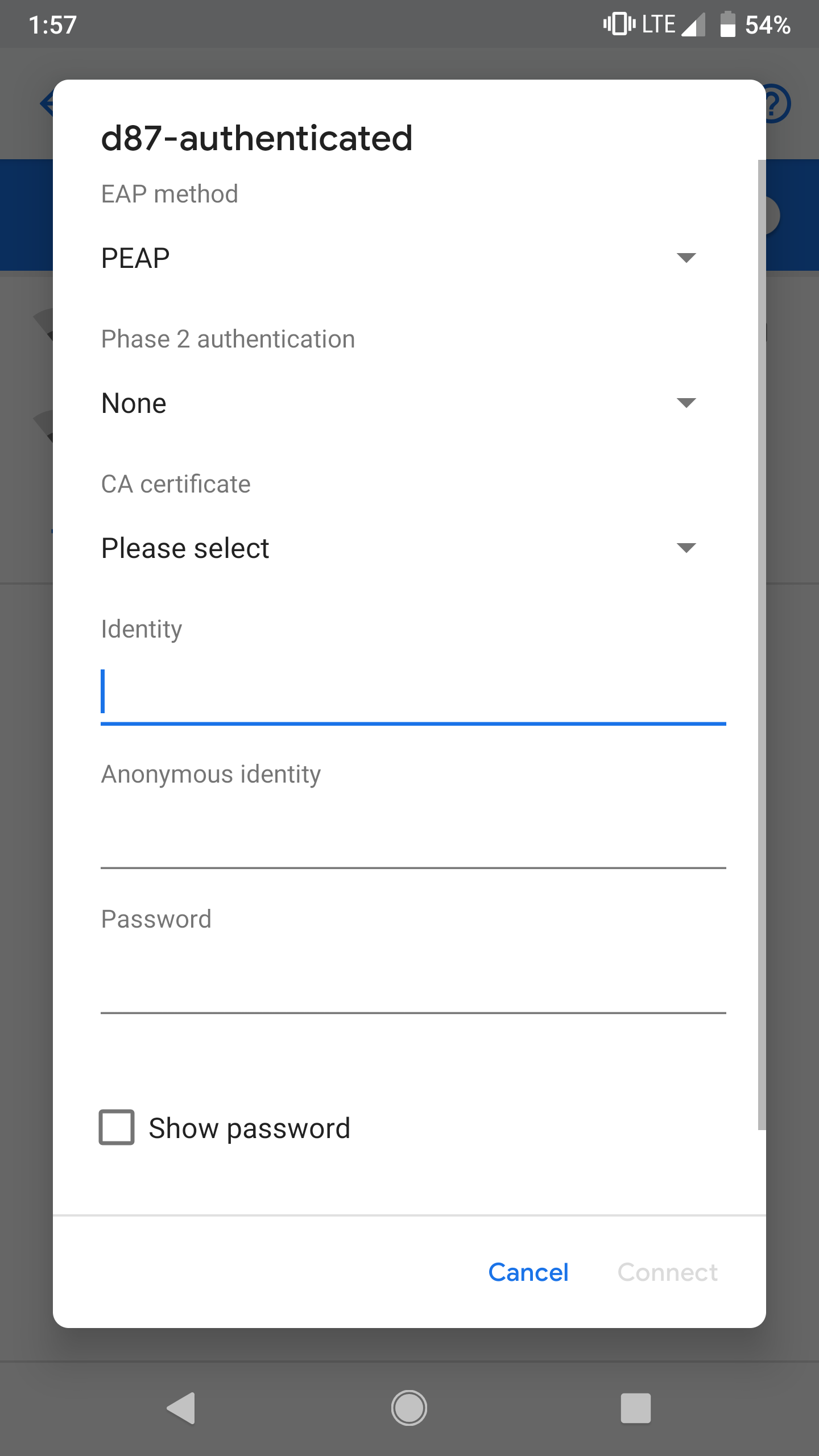 Connecting your phone to the D87-Authenticated WiFi - Android : D87