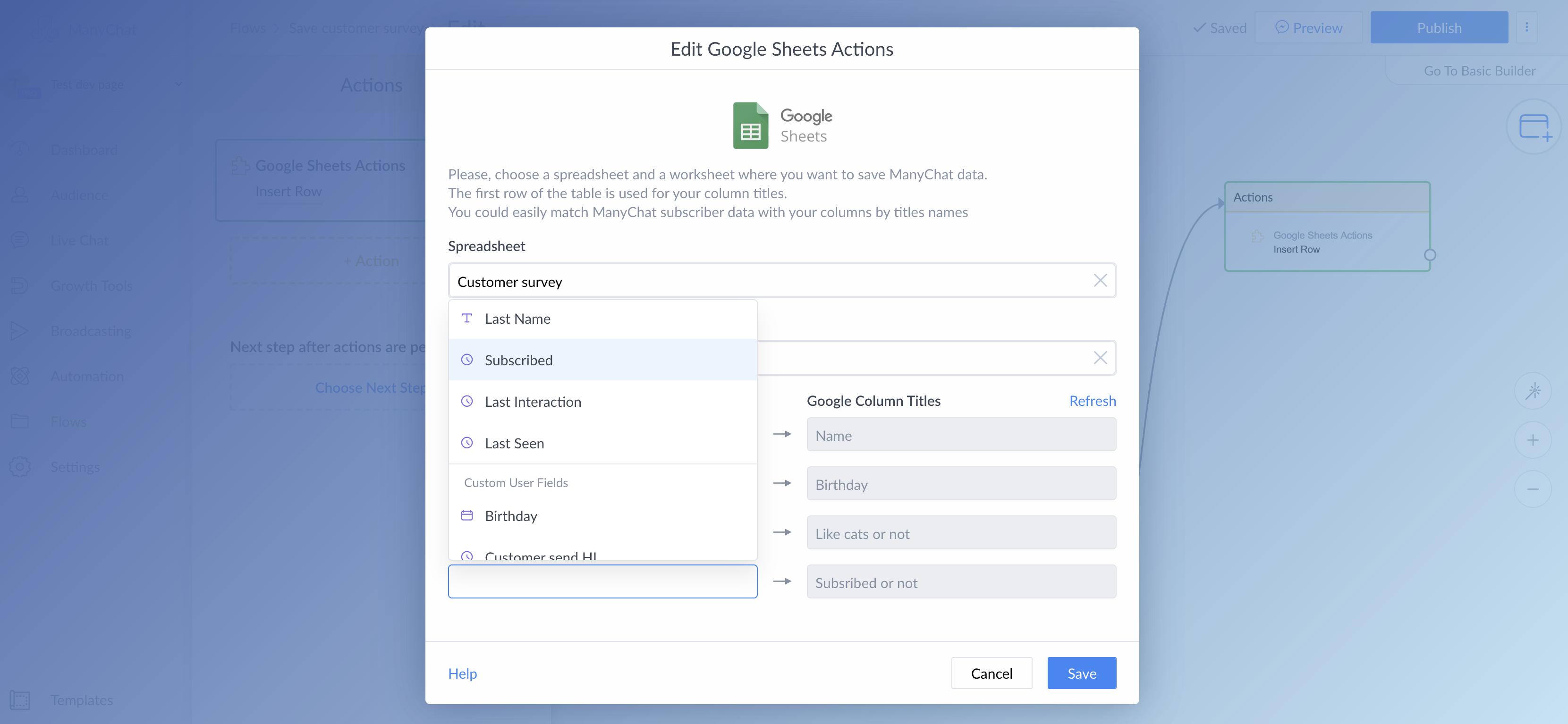 Google Sheets Integration : ManyChat