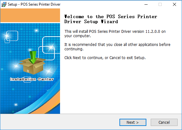 Setup POS Series Printer Driver 'el come to the POS Series Printer Driver Setup 'izard This will install POS Series Printer Driver version 11.2.0.0 on your computer. It is recommended that you close all other applications before continuing. Click Next to continue, or Cancel to exit Setup. Certer Next > Cancel