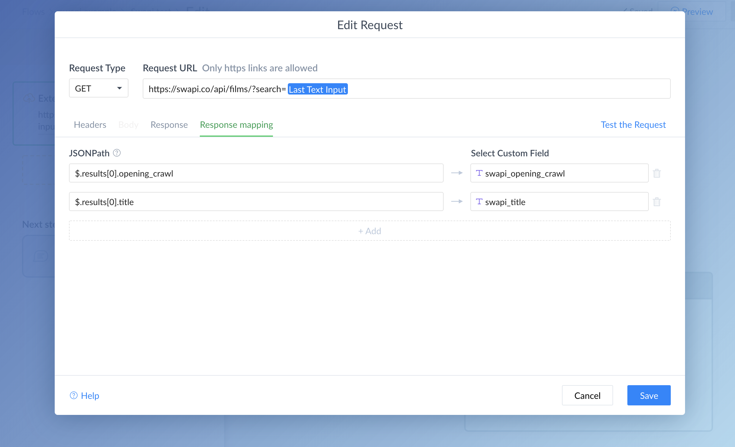 Dev Tools: External Request : ManyChat