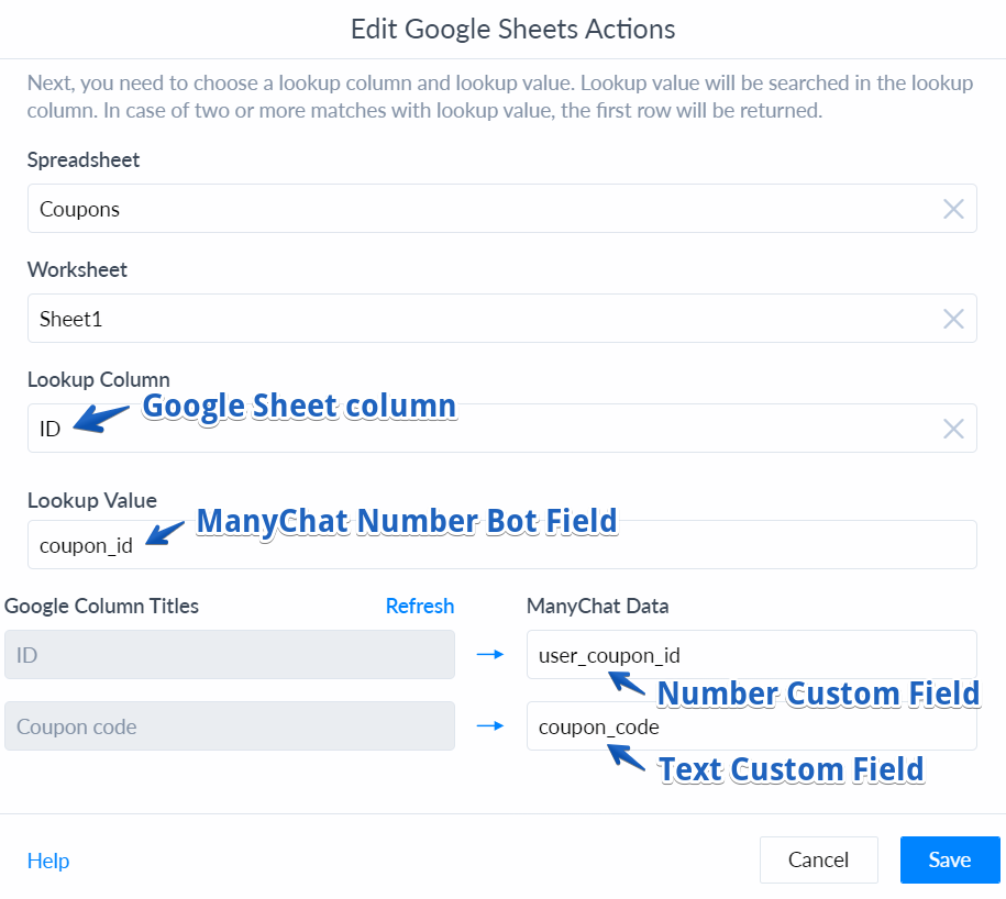 Google Sheets Integration Manychat