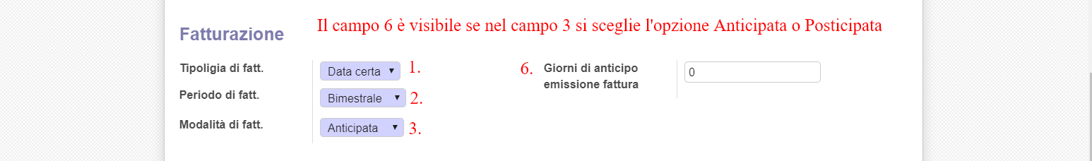 Fig.7 Scegliere i giorni di anticipo emissione della fattura.