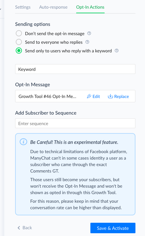 Comments Growth Tool issues and how to resolve them : ManyChat