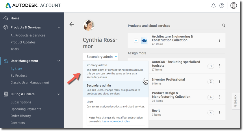 Changing the Primary admin in Autodesk Account