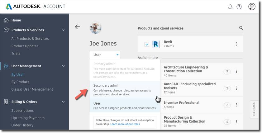 Changing the Secondary admin in Autodesk Account