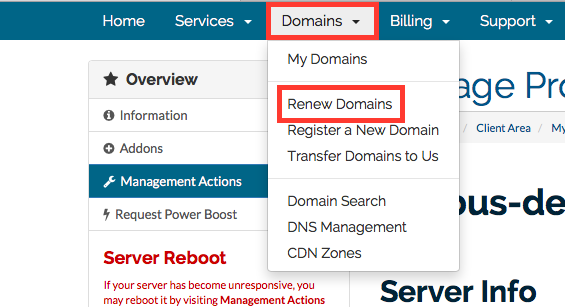 Domain Renew menu