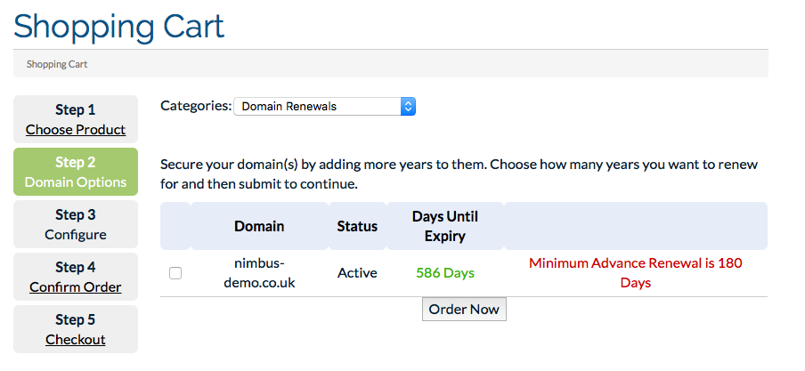 Domain Renew Screen