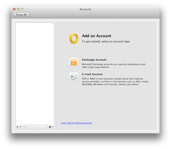 Outlook Add Account