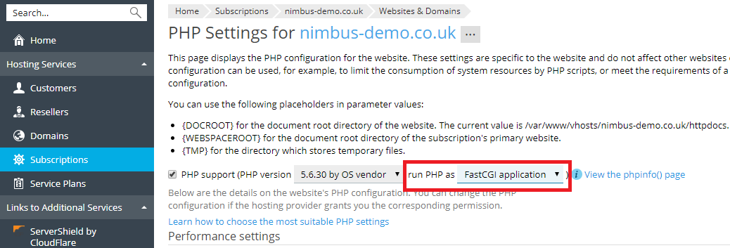Switch PHP Handler to FastCGI for CMS : Tickets