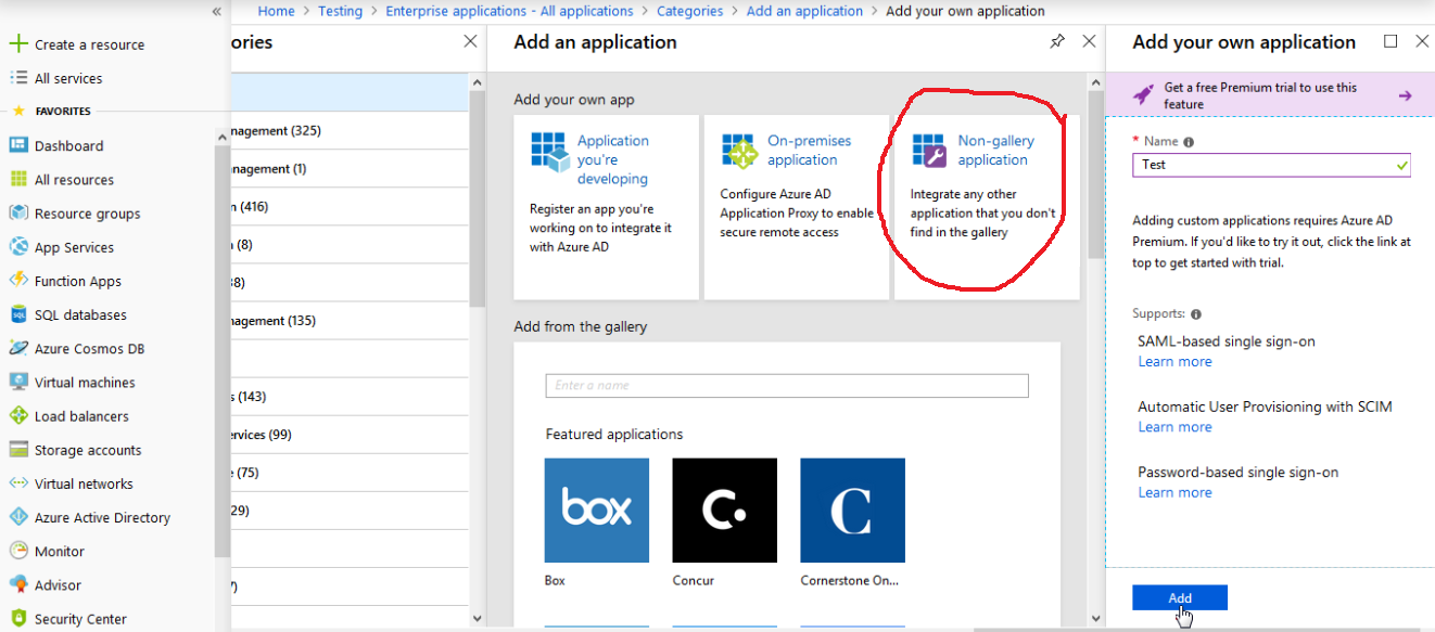 Configuring single sign-on with Azure AD Premium : Stack