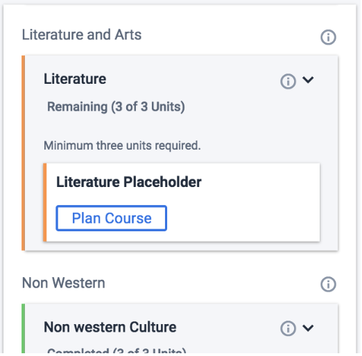 Plan Course button from Remaining Requirment