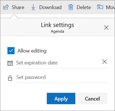 Link Settings options for sharing a file in OneDrive