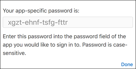 Copy your app password