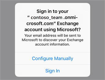 Tap Sign In if using O365 or tap Configure Manually if you have your organization's server settings.
