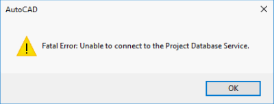 unable to connect to the project database service