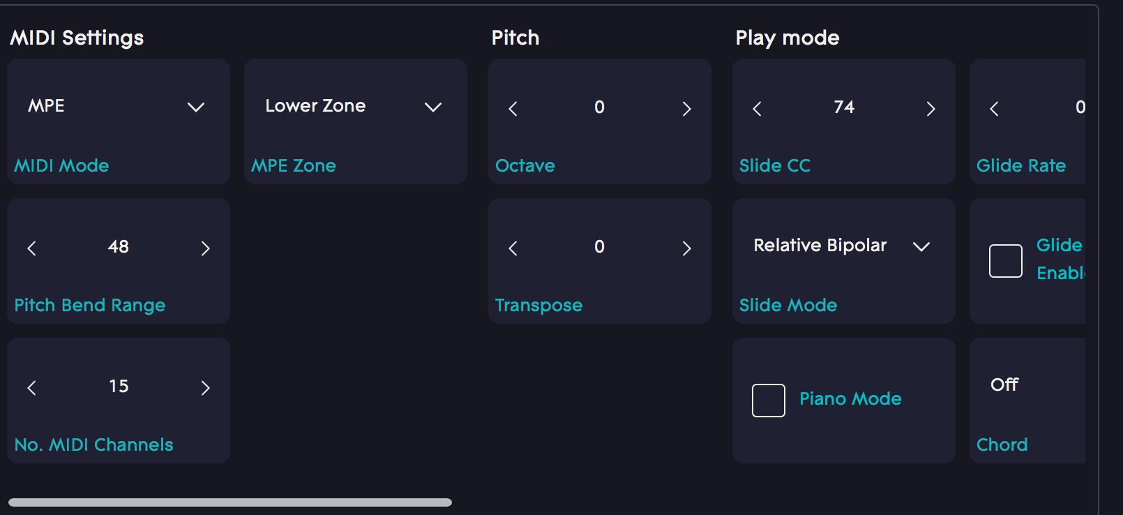 Semitone transpose Dashboard
