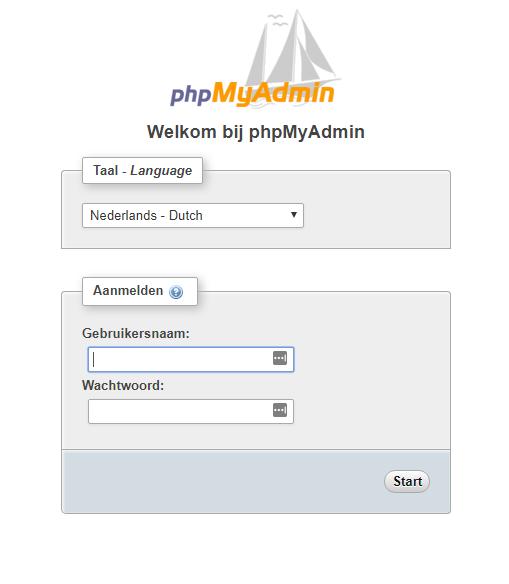 inloggen via php admin