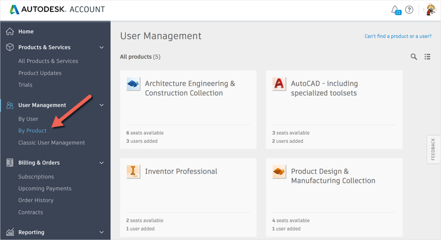 Assign user by product in Autodesk Account