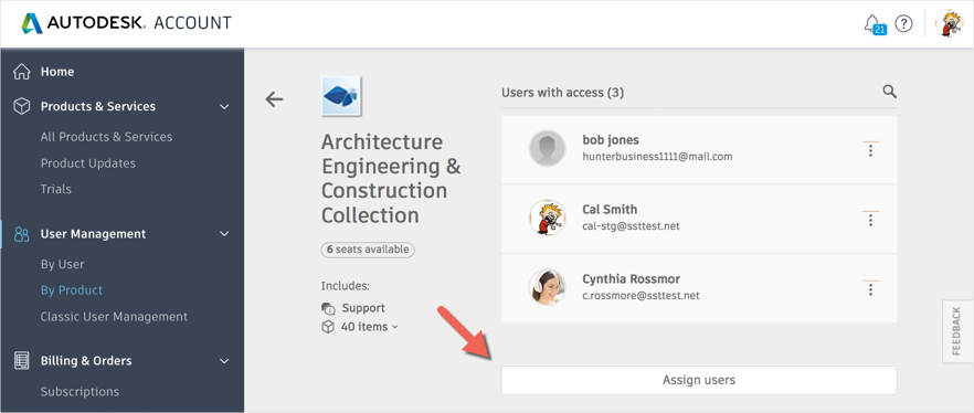 Assign user by product in Autodesk Account new view user management