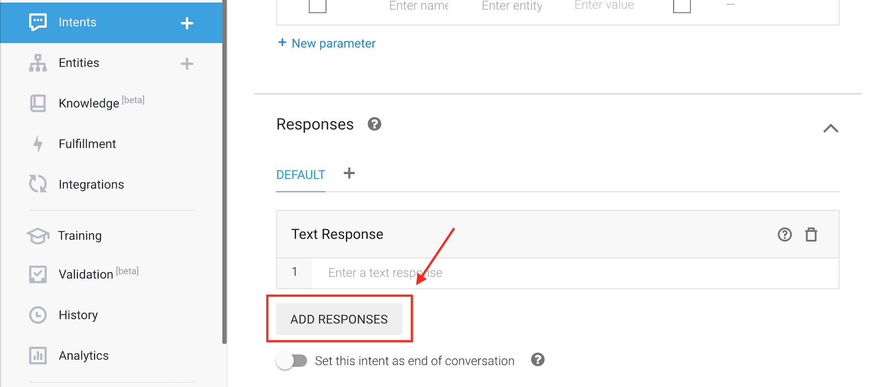 Add Responses in Dialogflow