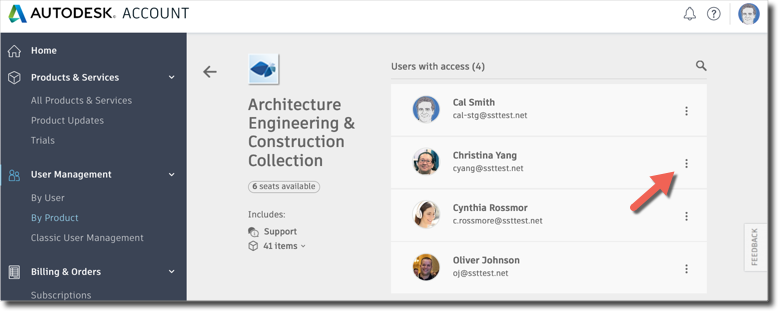 Autodesk Account user list by product